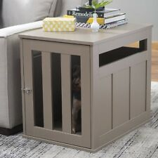 End Table Dog Crate Pet Kennel Cage Wood Indoor House Driftwood Medium Home New