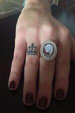 Anello in argento 925 dorato cammeo CZ sardonico ring cameo Made in Italy