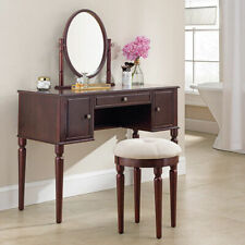 Classical Design Luxury Mirror Wooden Dressing Table & Stool Wooden Dress Vanity