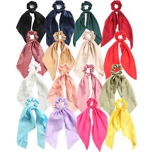 Satin Women Elastic Ponytail Scarf Bow Hair Rope Tie Scrunchies Ribbon Hair Band