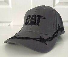Caterpillar CAT Cool Barbed Wire Grey Fabric Hat Cap Adjustable