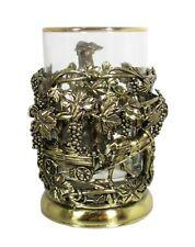 Brass Casting Glass Holder Podstakannik w/glass GIFT SET GRAPEVINES #49
