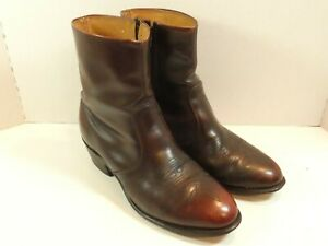 Mens Leather Western Stitching Cowboy Ankle Boots Brown Size 9EEE