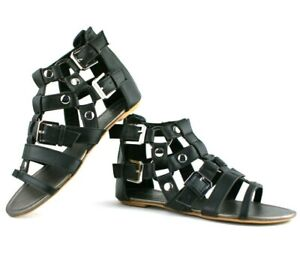 LADIES WOMENS STUD DETAIL CAGE SUMMER ROMAN STYLE SANDALS BEACH SHOES SIZE