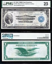1918 $1 SAN FRANCISCO Green Eagle FRBN Note! PMG 25! FREE SHIPPING! L21445754A