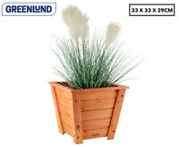 Square Timber Wood Planter - 33cm Tapered Indoor Outdoor Garden Plant Wooden Pot