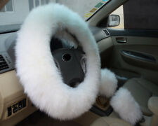 1Set White Long Furry Steering Wheel Cover Shifter Cover and Parking Brake Cover