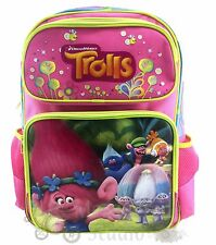 "16"" Dreamworks Trolls Large Pink School Backpack Book Bag"
