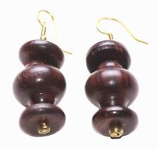 Dark Brown Wooden Stacks Spinner & Disc Easy Hook on Earrings(Zx47/170/193)