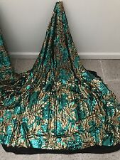 "BLACK STRETCH MESH W/GOLD GREEN SEQUIN EMBROIDERY LACE FABRIC 52"" WIDE 1 YARD"