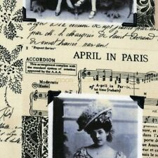 April in Paris Pictures on Music Sheets Prints Ivory Cotton Fabric