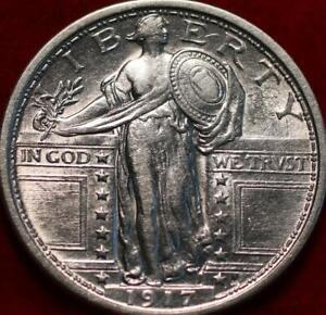 Uncirculated 1917 Type 1 Philadelphia Mint Silver Standing Liberty Quarter