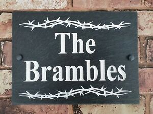 Slate House Sign 29cm x 21cm Plaque Deep Engraved Painted Personalised & fixings