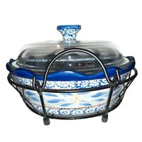 Temptations Old World Blue Covered Casserole Dish with basket lid 1.5 Qt