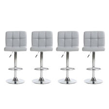 Usa Set of 4 Bar Stools Leather Adjustable Swivel Pub Chairs Counter Height New
