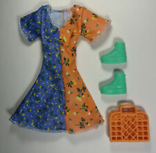 Barbie Deluxe Fashionista Gift Set Orange and Purple Doll Dress Sneakers Purse