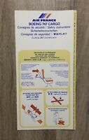 Safety Card AIR FRANCE BOEING 747 CARGO