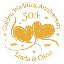 Golden 50th Wedding Anniversary Cake Topper Personalised  Golden Wedding  Icing