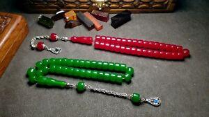 TWINS -- 100% Original -- Amber Bakelite Prayer Beads Muslim Tesbih Rosary