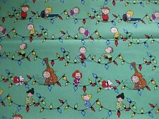 "Peanuts Snoopy Charlie Brown Musical Christmas Fabric - Fat Quarter 18"" x 21"""