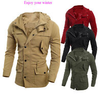 Men's Coat Slim Fit Outwear Overcoat Military Casual Jacket