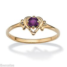 WOMENS 14K GOLD GP BIRTHSTONE AMETHYST HEART SHAPE RING SIZE GP 5 6 7 8 9 10