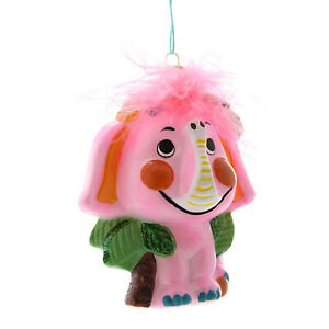 "5"" Cody Foster Pink Elephant Kitsch Retro Vntg Christmas Decor Tree Ornament"