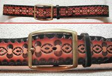 "Shaded Brown Leather 1.5"" wide Belt with stamped pattern + brass buckle 27 - 32"""