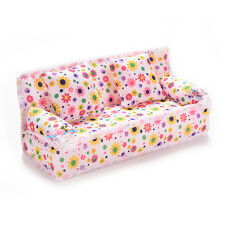 Mini Furnitures Sofa Couch +2 Cushions For Barbie Dolls House Accessories FO