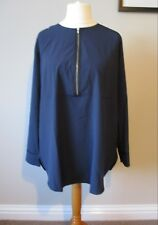Trinny & Susannah  Long Sleeved Blouse New With Tags Size 16 Navy Zip