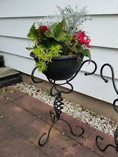Vtg Pair/2 Twisted/Curly Wrought Iron Planter/Plant Stands/Holders Jardiniere