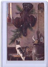 VINTAGE TUCK'S #9350 CHRISTMAS GREETINGS TABBY CAT AND BIRD OILETTE POSTCARD