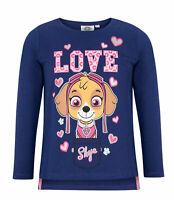 Girls Kids Official Paw Patrol Skye Dark Blue Long Sleeve T Shirt Top