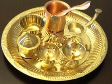 Brass Pooja Arthi Plate Pure Brass Arti Thali 9 piece Puja Room decorative Items