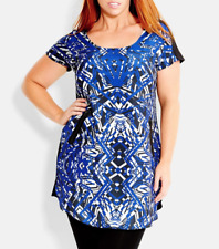 City Chic Abstract Print Front Bam Tunic Tunic Dress, Plus Size S (16)