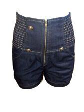 Blue Denim Jean High Stretch Elastic Waist Waisted Button Dark Wash Shorts Large