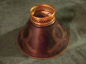 "Vintage Torchiere Lamp Shade Black Metal Tole Vine/Wreath Design 4.5"" tall"
