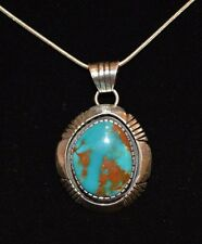 Necklace Bisbee Turquoise & Sterling Silver By Native American Navajo Artist M F