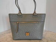 New DOONEY & BOURKE Ostrich Leather Zip Tote Shoulder Bag $268 GREY
