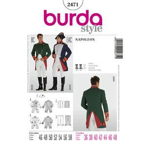 Burda 2471 SEWING PATTERN Military Uniform Napoleon Waistcoat Men Costume Histor