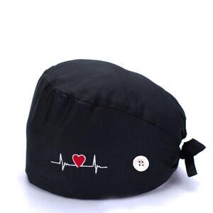 Unisex Surgical Cap Doctor Nurse Cotton Bouffant Caps Adjustable Head Cover Hat