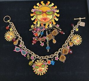 Vintage Lunch at the Ritz LATR 2GO Sun Glasses Brooch and Bracelet HAS WEAR