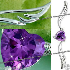 Purple Heart Crystal & Silver Necklace Best Friends Love Xmas Gift For Her Women