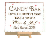 Personalised Candy Bar Cart Wedding Metal Vintage Shabby Chic Style Plaque Sign