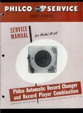Philco M-9C Record Changer Player Rare Vintage Orig Factory Service Manual