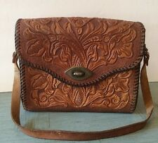 Vintage Brown Tooled Leather BOHO Hippie Floral Saddle Shoulder Bag Purse Mexico