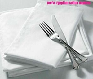50 x 100% Cotton Plain White Napkins Dinner Napkins for Party ,Wedding Hotel