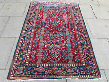 Antique Shabby Chic Traditional HandMade Persian Oriental Red Wool Rug 202x138cm