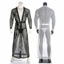 Men Sexy Lingerie Lace Long Robe Gay Erotic See Through Dressing Gown Nightwear