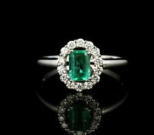CEI SIGNED NATURAL 3/4ctw COLOMBIAN EMERALD & DIAMOND HALO 14K WHITE GOLD RING